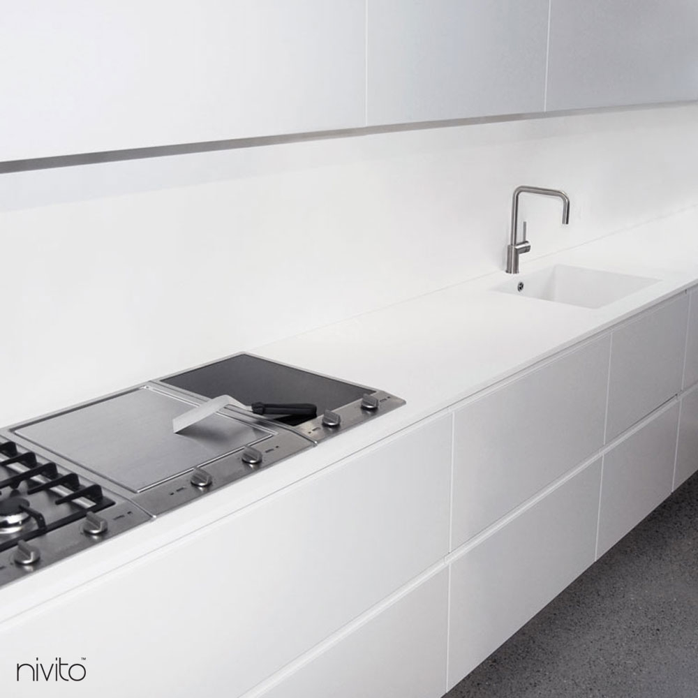 Brushed steel water tap