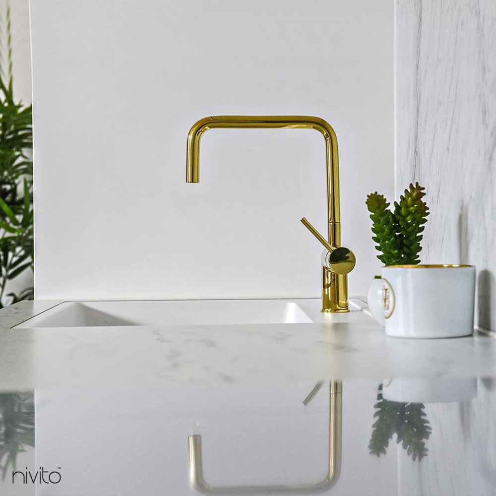Gold brass kitchen faucet