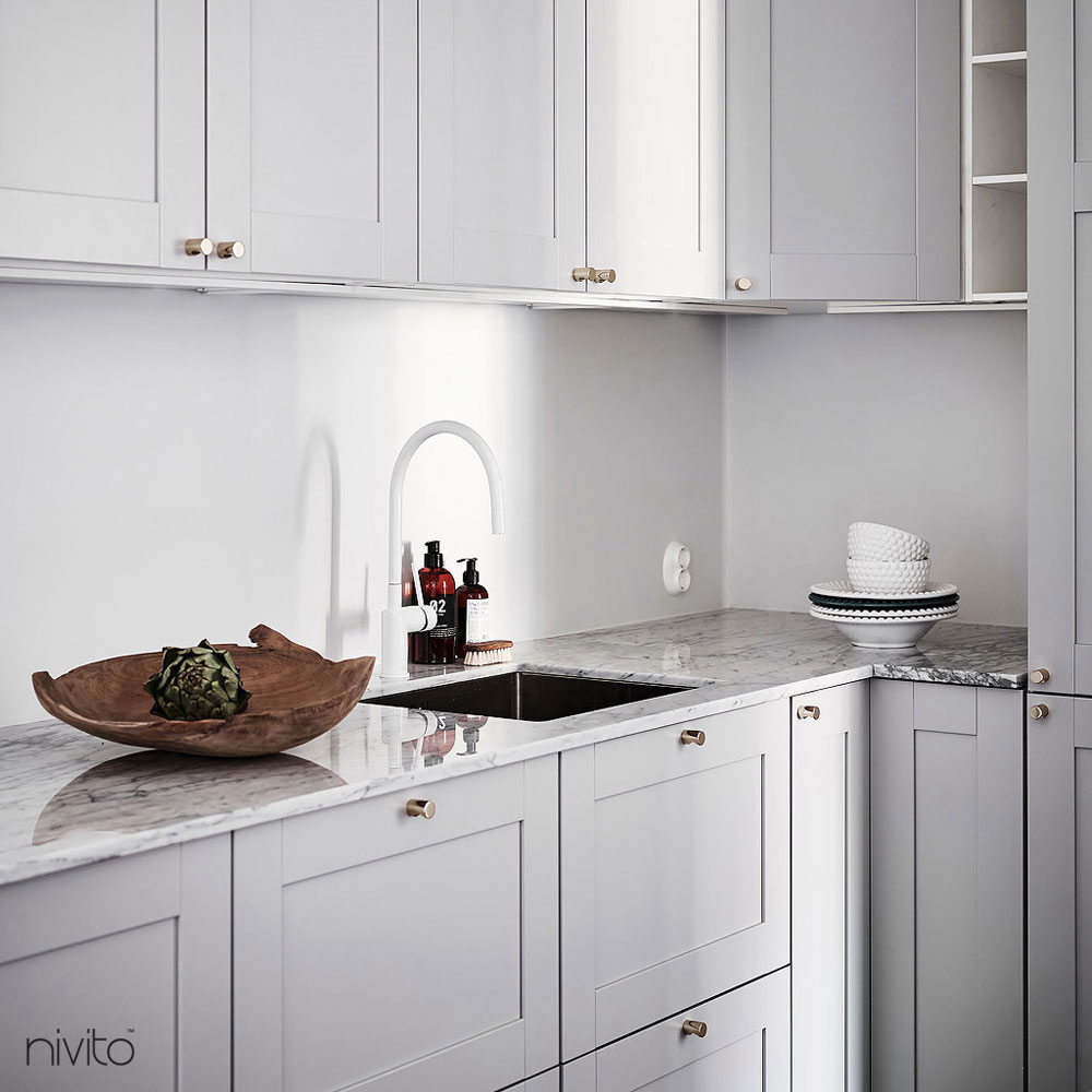 White kitchen mixer tap