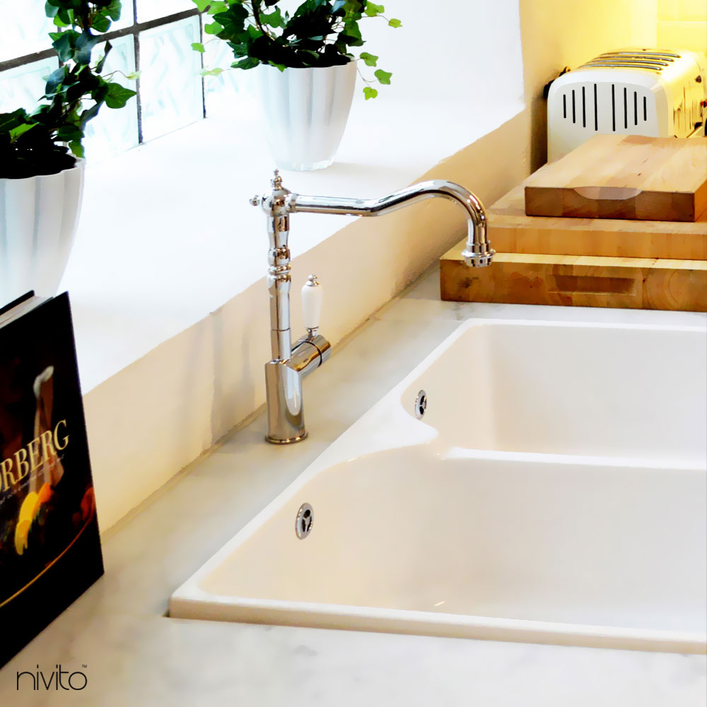 Polished steel faucet