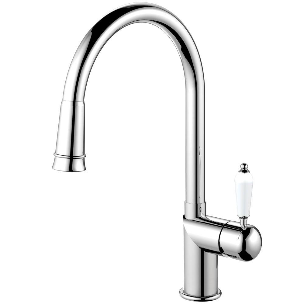 Kitchen Faucet Pullout hose - Nivito CL-210 White Porcelain Handle Color