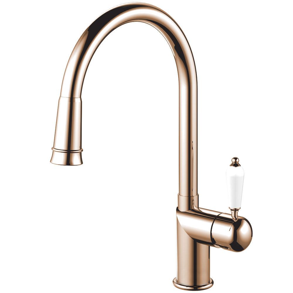Copper Kitchen Faucet Pullout hose - Nivito CL-270 White Porcelain Handle Color