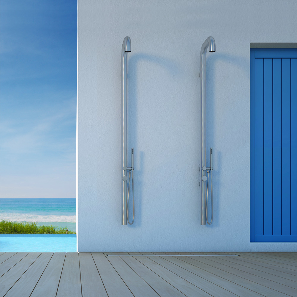 Wall mounted indoor shower outdoor shower