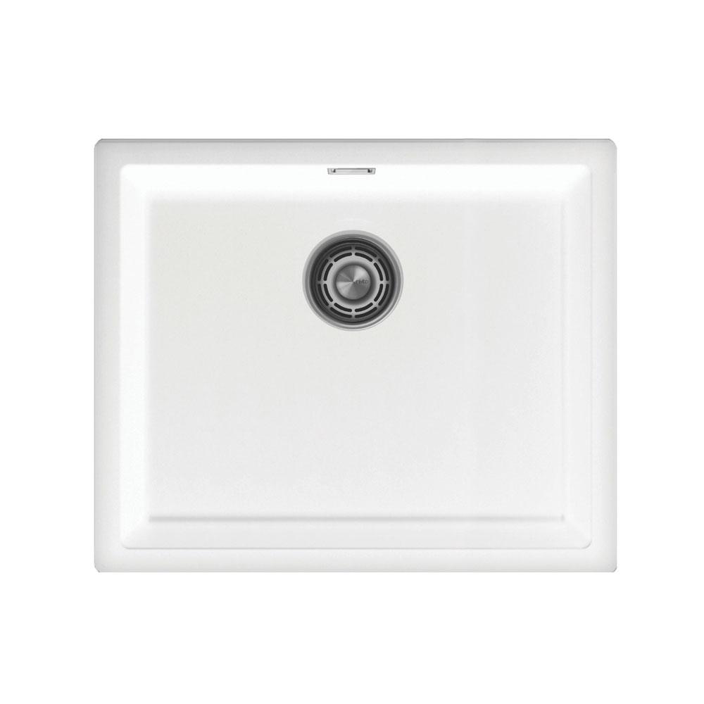 White Kitchen Sink - Nivito CU-500-GR-WH Brushed Steel Strainer ∕ Waste Kit Color