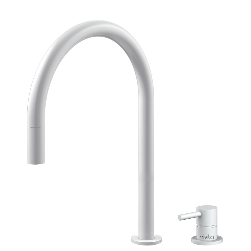 White Faucet Pullout hose / Seperated Body/Pipe - Nivito RH-130-VI