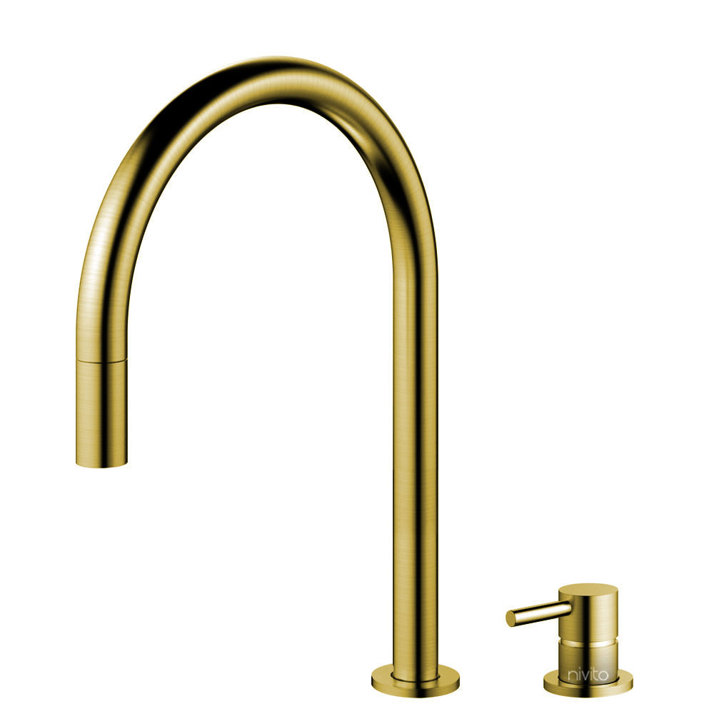 Brass/Gold Kitchen Faucet Pullout hose / Seperated Body/Pipe - Nivito RH-140-VI