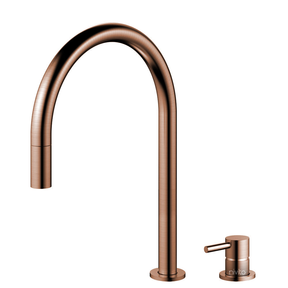 Copper Kitchen Faucet Pullout hose / Seperated Body/Pipe - Nivito RH-150-VI