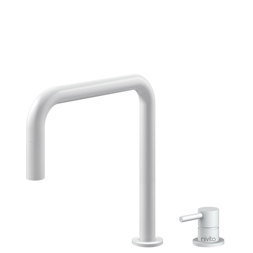 White Kitchen Tap Pullout hose / Seperated Body/Pipe - Nivito RH-330-VI