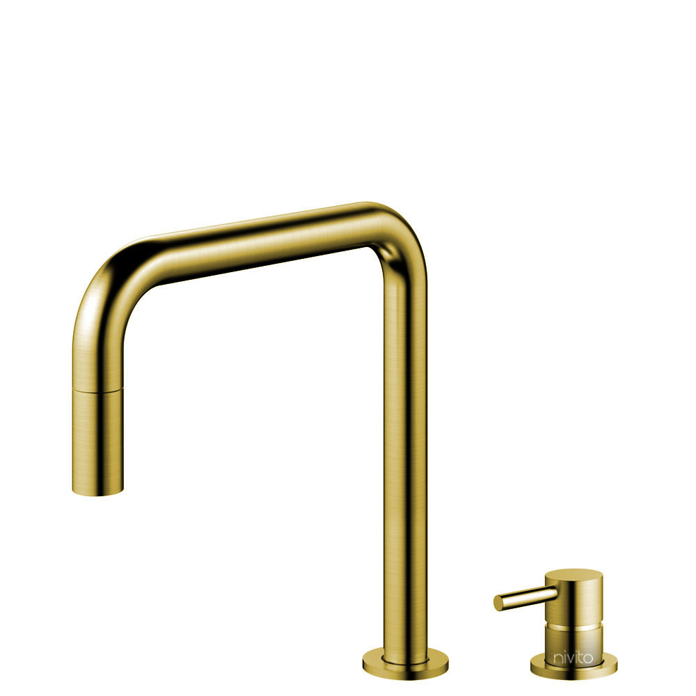 Brass/Gold Kitchen Faucet Pullout hose / Seperated Body/Pipe - Nivito RH-340-VI