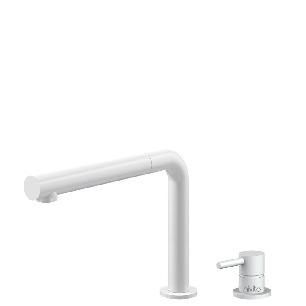 White Kitchen Faucet Pullout hose / Seperated Body/Pipe - Nivito RH-630-VI
