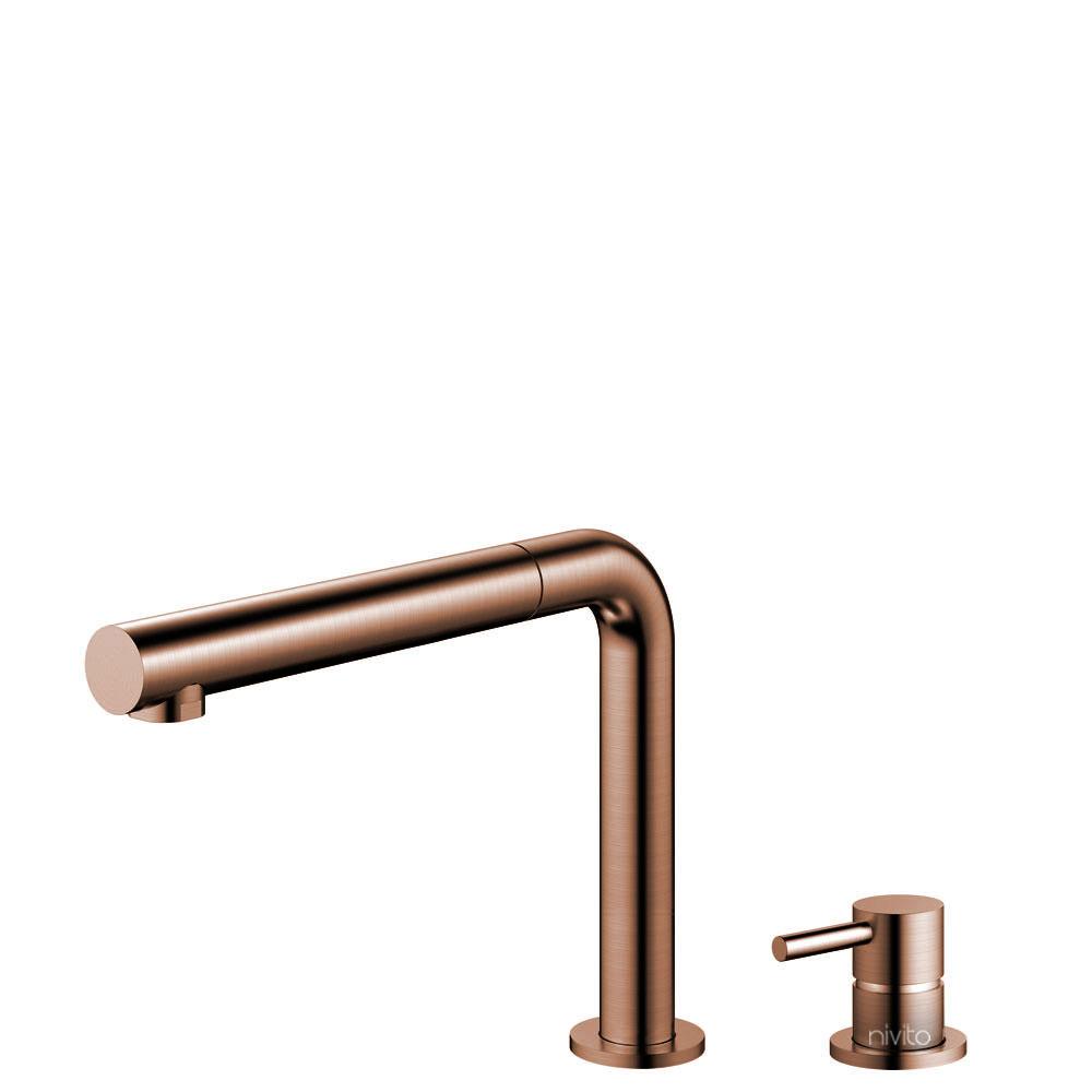 Copper Kitchen Faucet Pullout hose / Seperated Body/Pipe - Nivito RH-650-VI