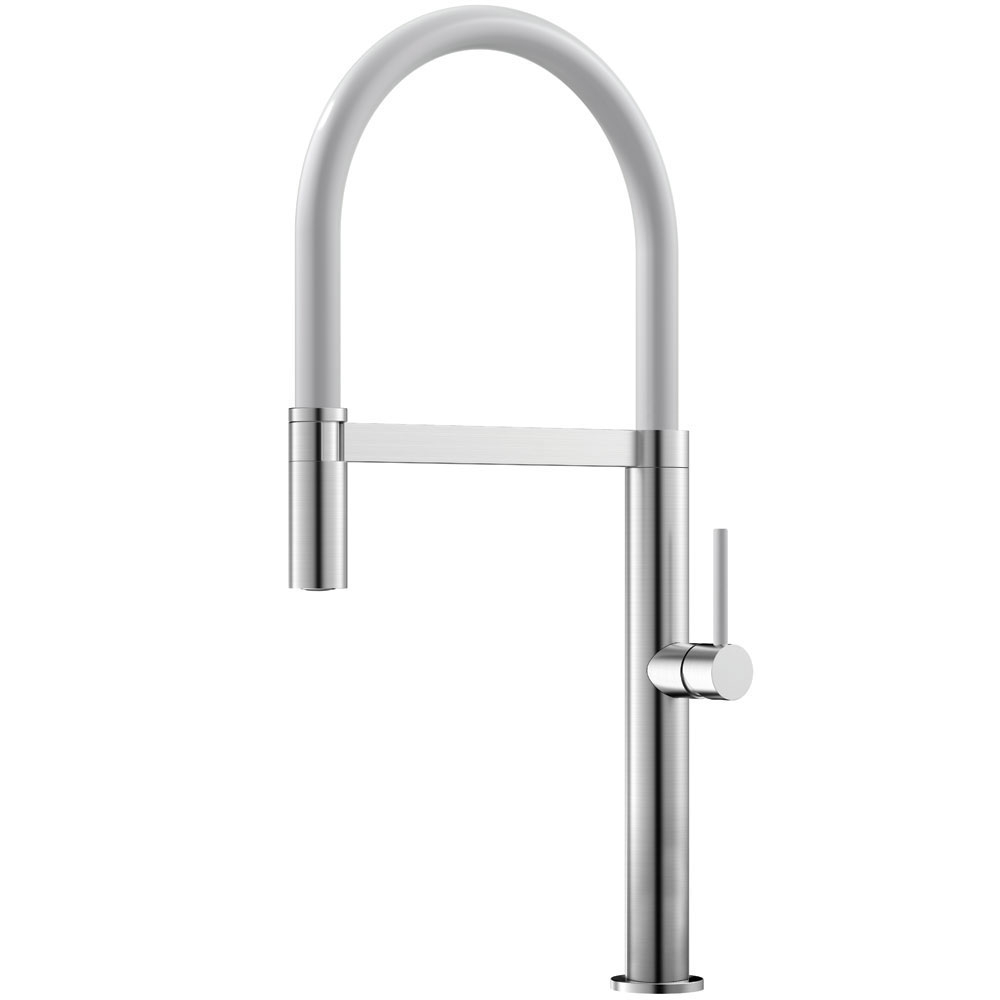 Stainless Steel Kitchen Faucet Pullout hose / Brushed/White - Nivito SH-300