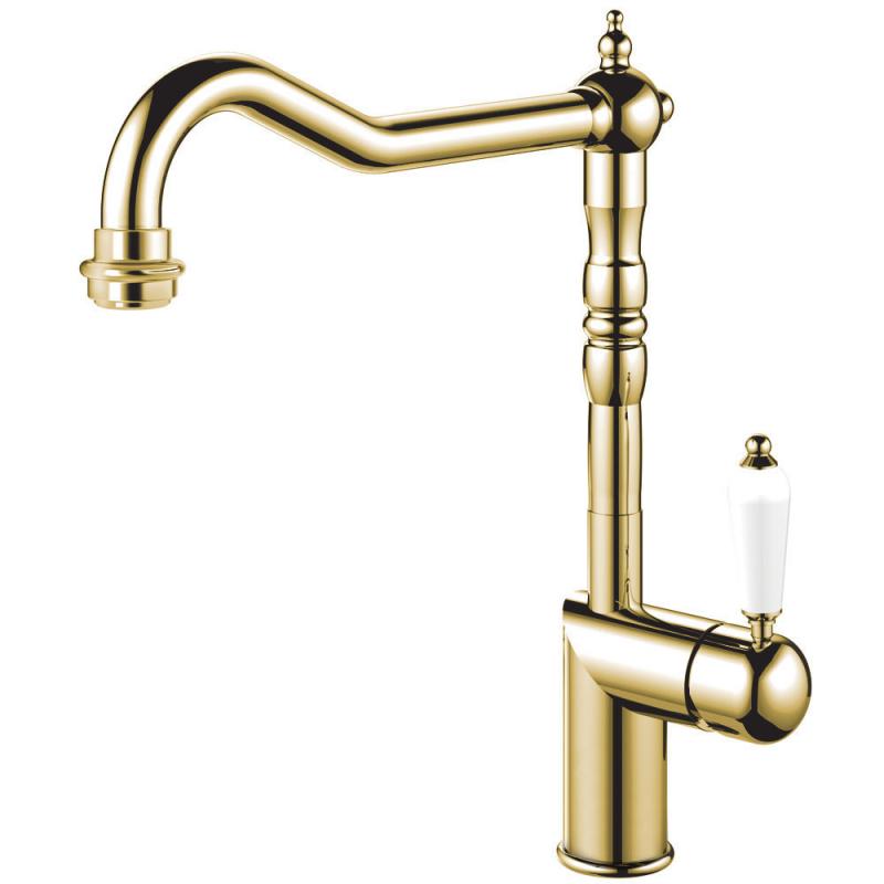 Brass/Gold Kitchen Faucet - Nivito CL-160 White Porcelain Handle Color