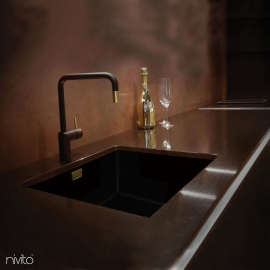 Black and gold brass mixer