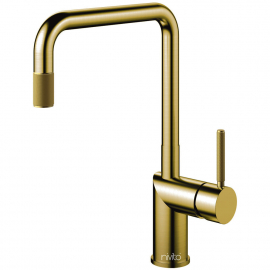 Brass/Gold Kitchen Faucet Pullout hose - Nivito RH-340-EX-IN