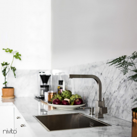 Brushed steel faucet